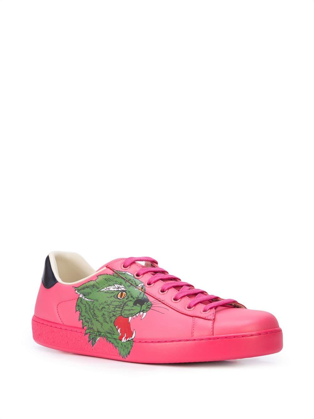 4b30e14b022 Lyst - Gucci Ace Sneaker With Panther in Pink for Men