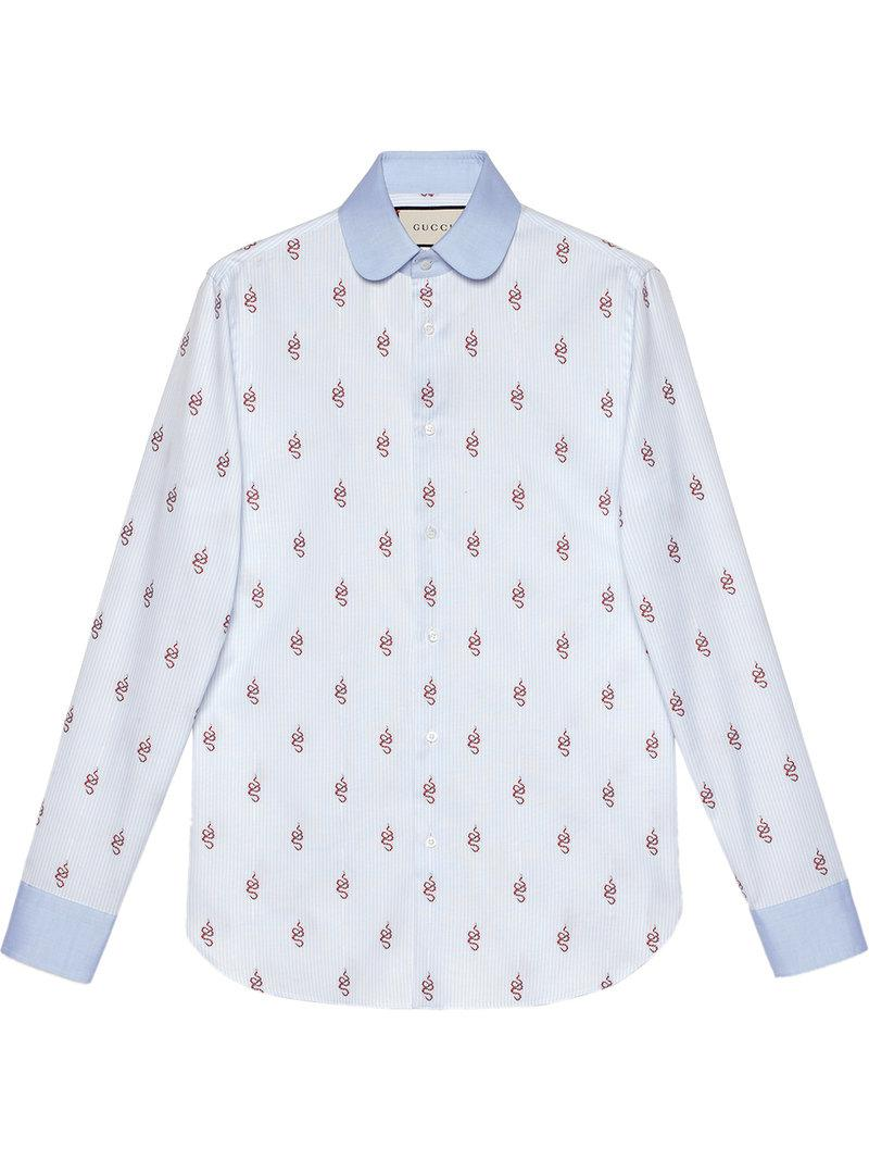 524ddf0ab Gucci Kingsnakes Fil Coupé Oxford Shirt in Blue for Men - Save 10 ...