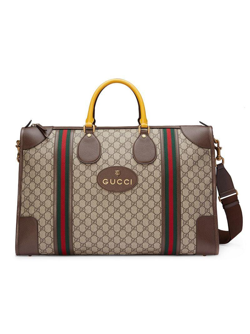 9eeae998ba2 Lyst - Gucci Soft GG Supreme Duffle Bag With Web in Brown