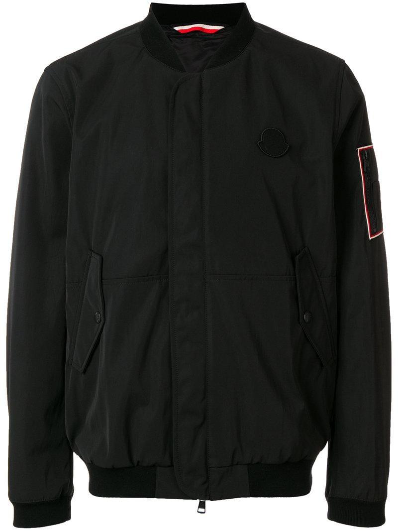 9c6974e4bf33 Lyst - Moncler Logo Patch Bomber Jacket in Black for Men