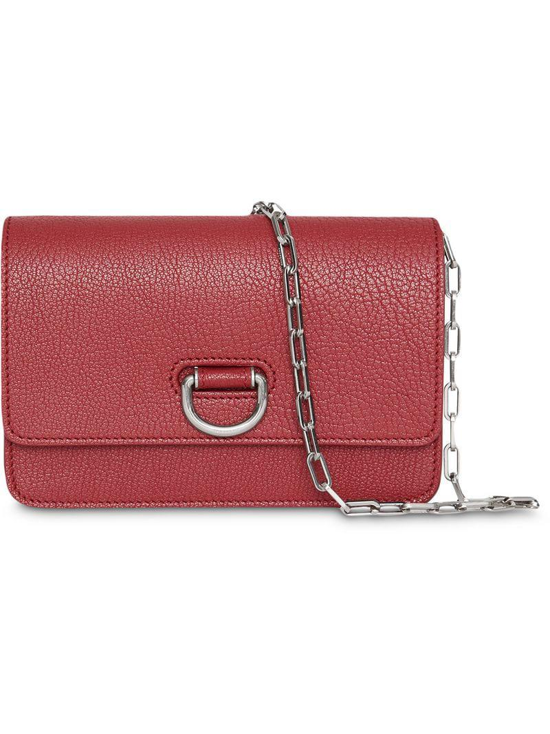 8e9b024ea242 Lyst - Burberry The Mini Leather D-ring Bag in Red