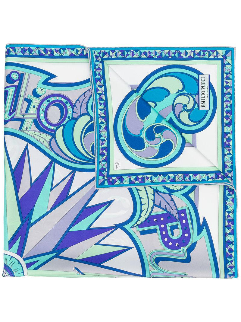 double sided printed scarf - Blue Emilio Pucci 3D6aSlr