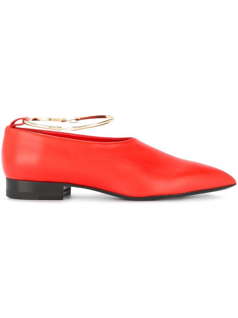 c09f170634b Lyst - Jil Sander Ankle Ring Ballerinas in Red - Save 49%