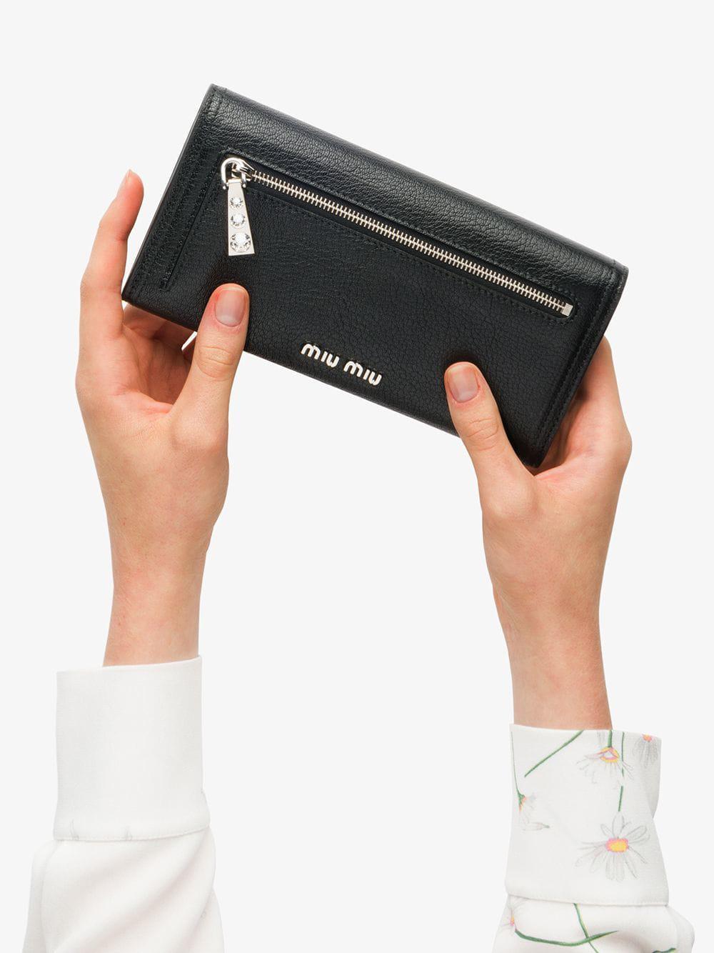 3230bcbf616e Lyst - Miu Miu Madras Leather Wallet in Black
