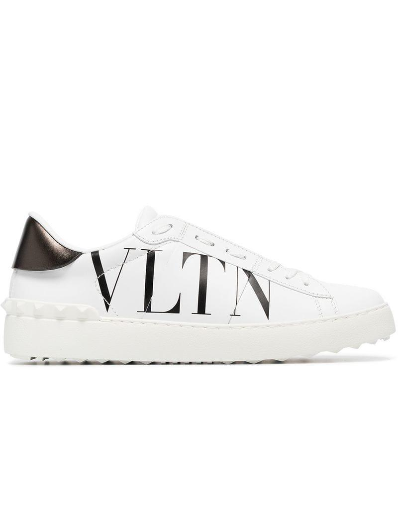 ef4c2330ee75 Valentino White And Black Garavani Vltn Open Sneakers in White ...
