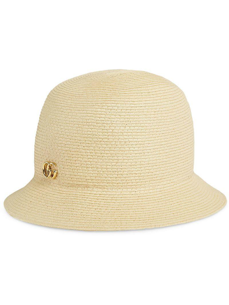 7a1de382b9fba Lyst - Gucci GG Logo Raffia Hat in Natural for Men