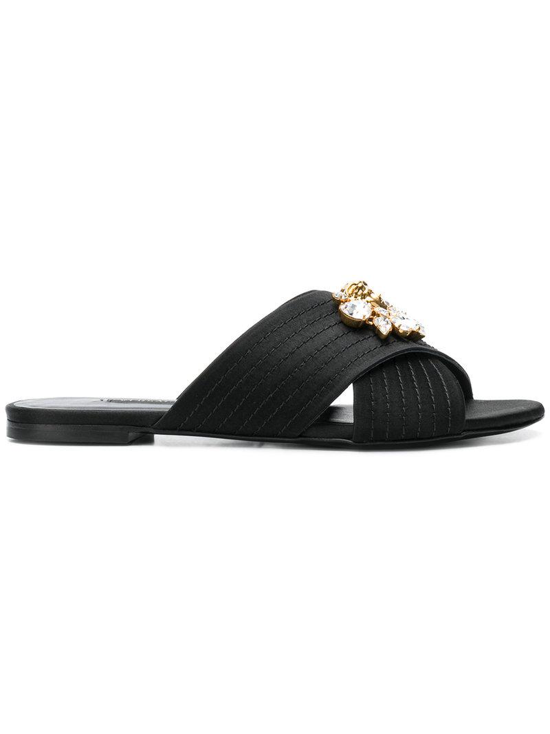 e7290b35a Lyst - Versace Medusa Crystals Satin Slides in Black