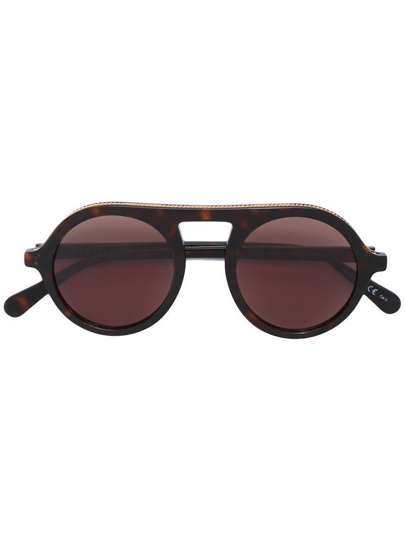40258143e3 Lyst - Stella Mccartney Retro Round Tortoiseshell Sunglasses in Brown