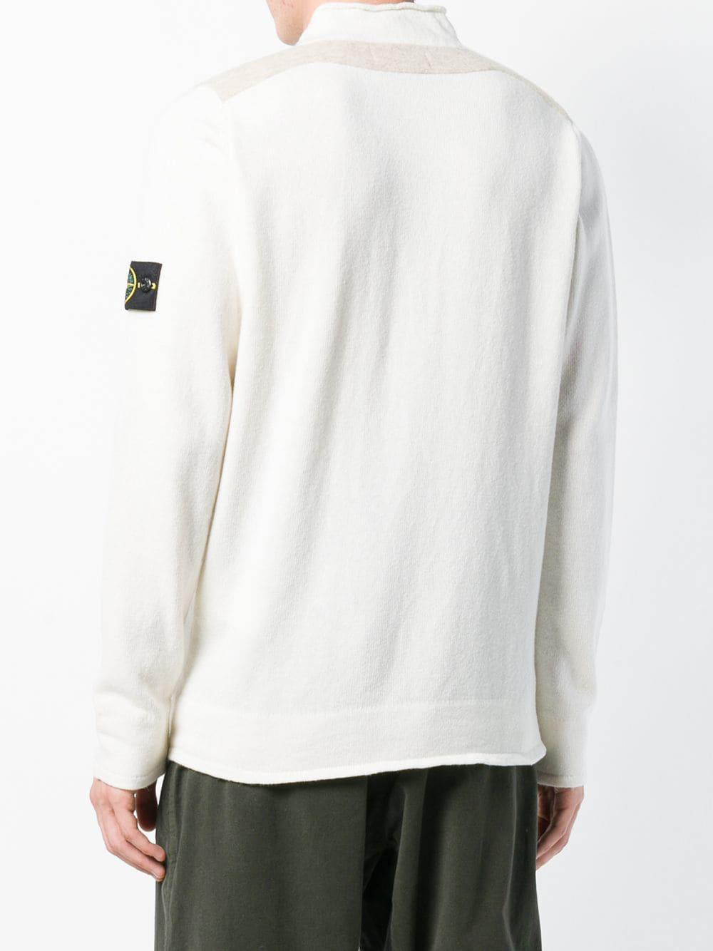 Lyst Stone Island Knit Sweater In White For Men