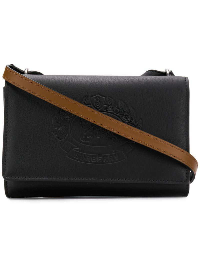 Lyst - Burberry Embossed Logo Shoulder Bag in Black 9f3c6d440589e