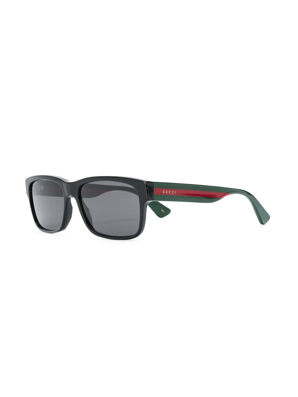 62f8b96df0 Gucci Square Frame Sunglasses in Green for Men - Lyst