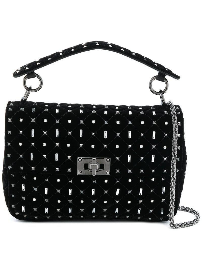 e8f2ce6d84aea Valentino Garavani Rockstud Shoulder Bag in Black - Lyst