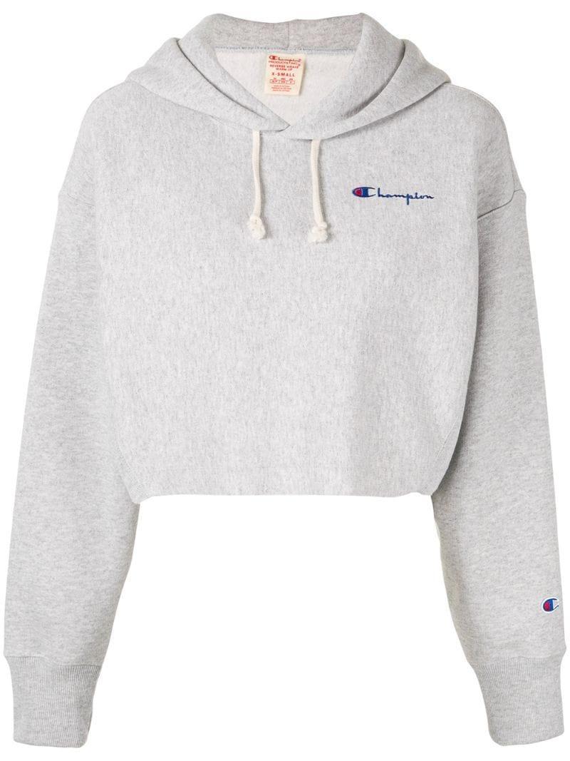 1f1df866980 Champion Cropped Sweatshirt in Gray - Lyst