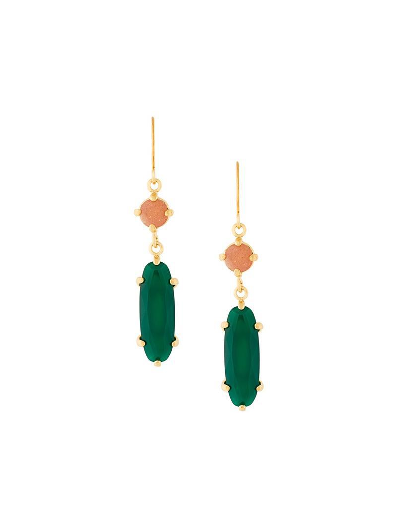 Wouters & Hendrix My Favourite green agate chain earrings - Metallic JXsWPFZPZ