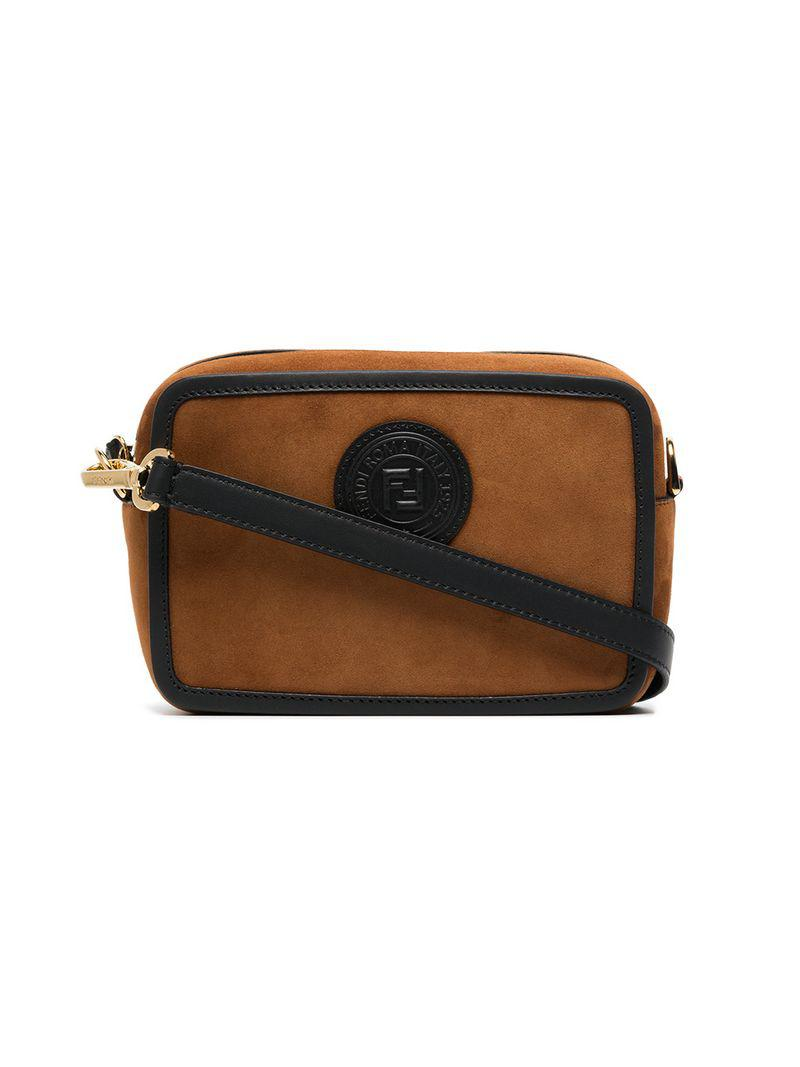 8fc7181e76e Lyst - Fendi Brown Logo Stamp Suede Leather Camera Bag in Brown ...