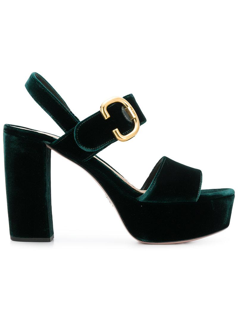 dc39601cb25 Prada Two-Tone Velvet Sandals in Green - Save 50% - Lyst