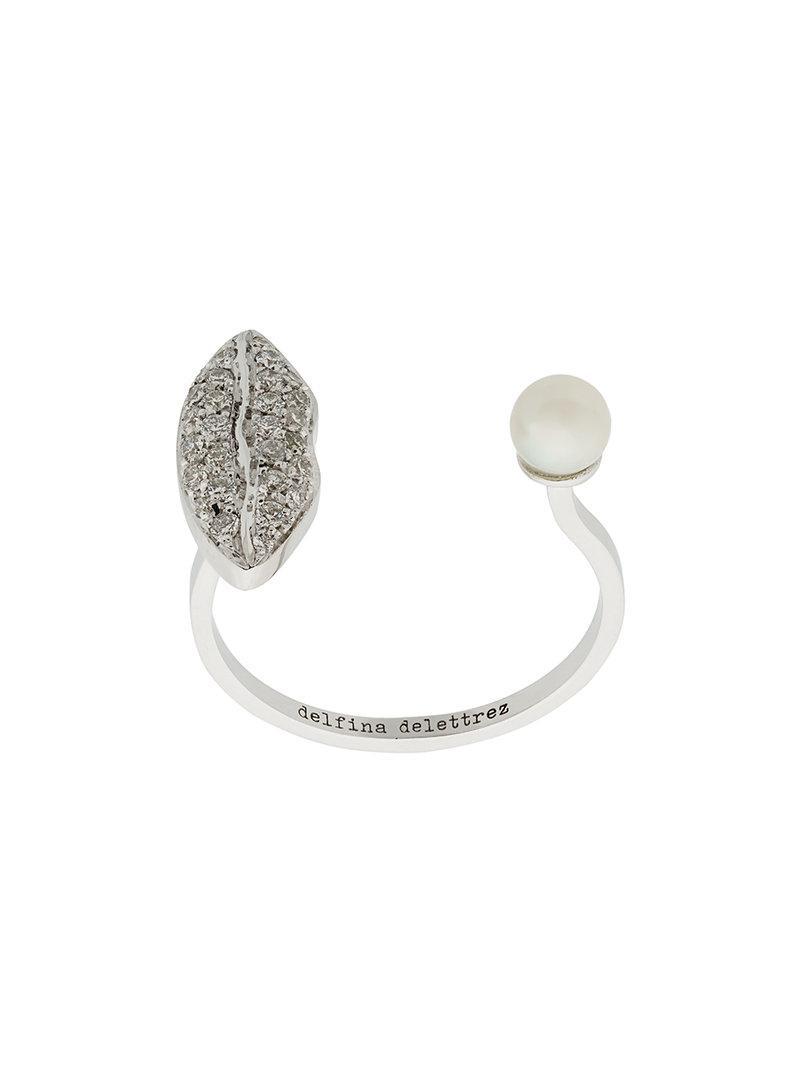 Delfina Delettrez 18kt white gold Lips Piercing ring - Metallic 9JLu3IBEv