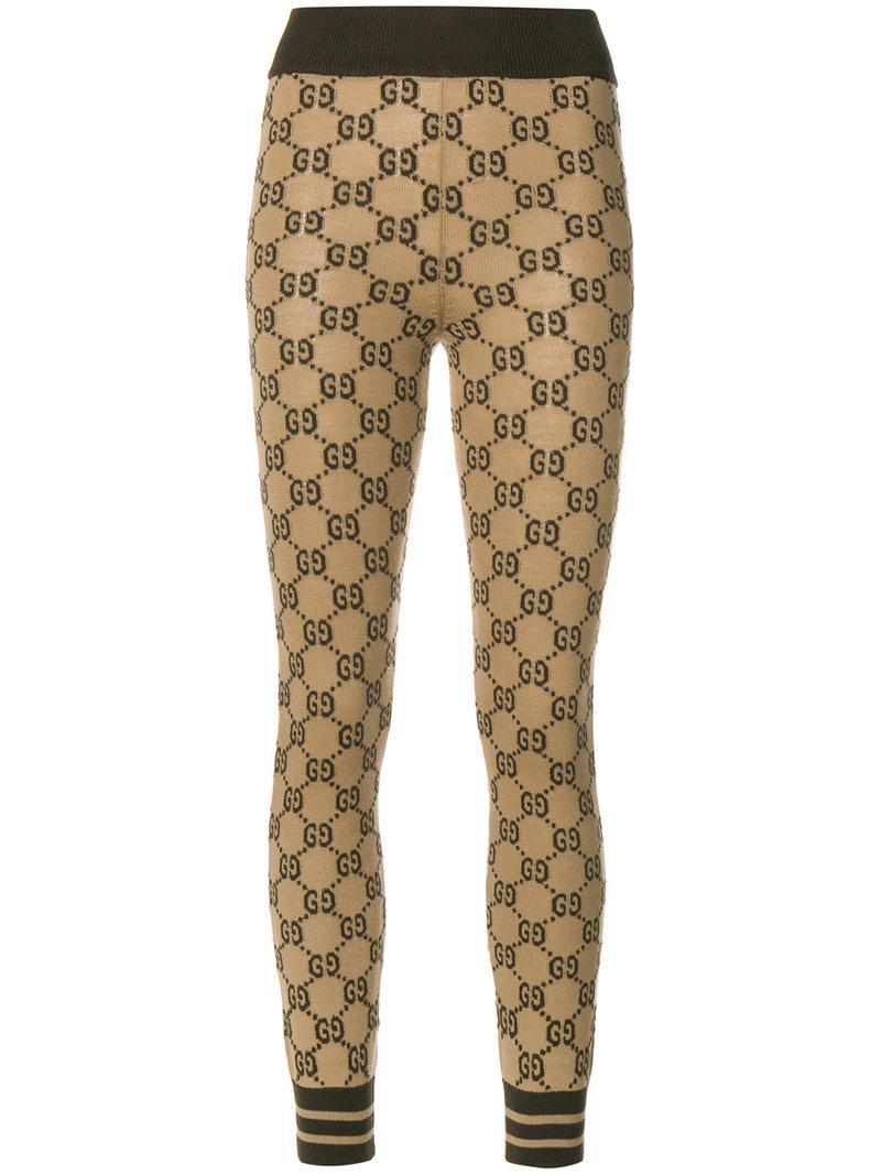 5b68439ed72 Lyst - Gucci Gg Supreme Leggings in Brown