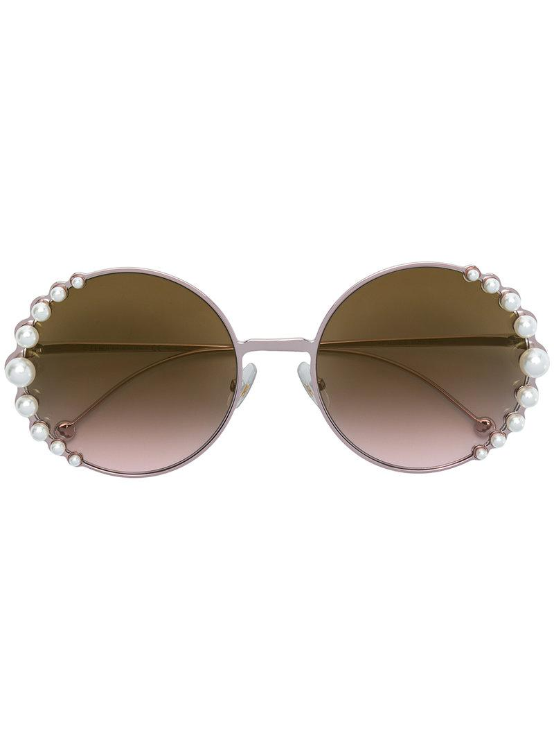 682d16247295a Fendi Ribbons And Pearls Sunglasses in Metallic - Lyst