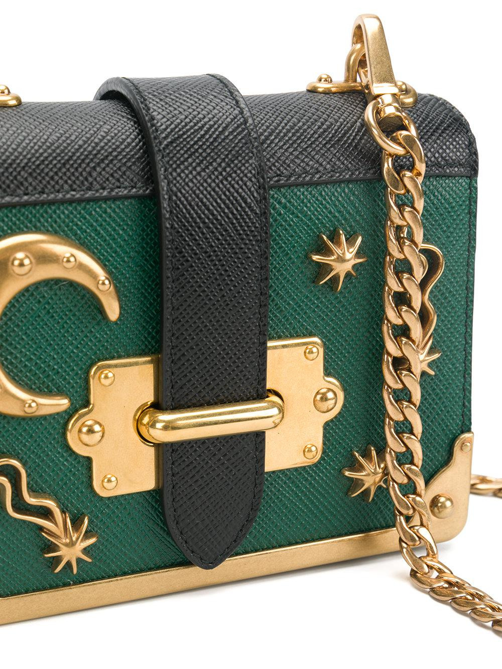 53b57bce7ef1 Lyst - Prada Cahier Mini Moon And Stars Bag in Green
