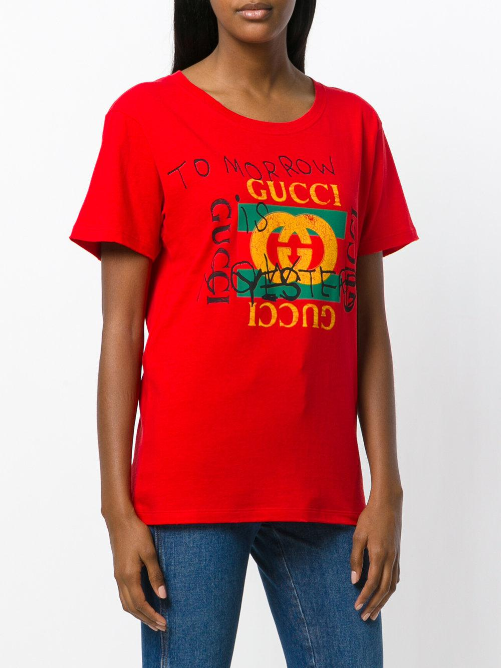 5f381730109d Lyst - Gucci Coco Capitán Logo T-shirt in Red