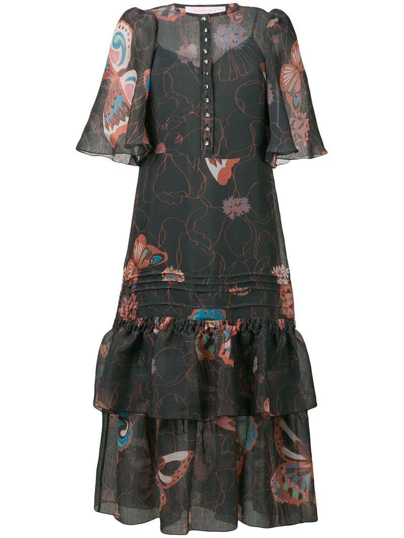 9b0b68a2bde48 Lyst - See By Chloé Butterfly Print Dress in Black