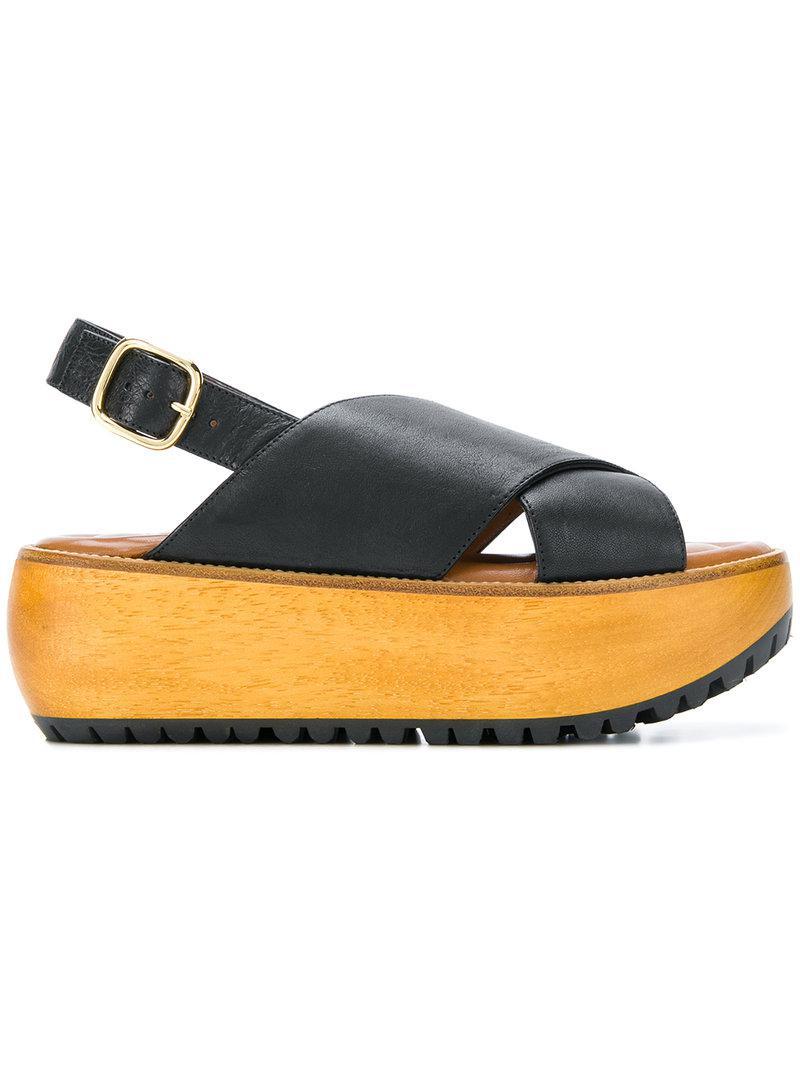 51b61ec00117 Lyst - Marni Fussbett Flatform Sandals in Black
