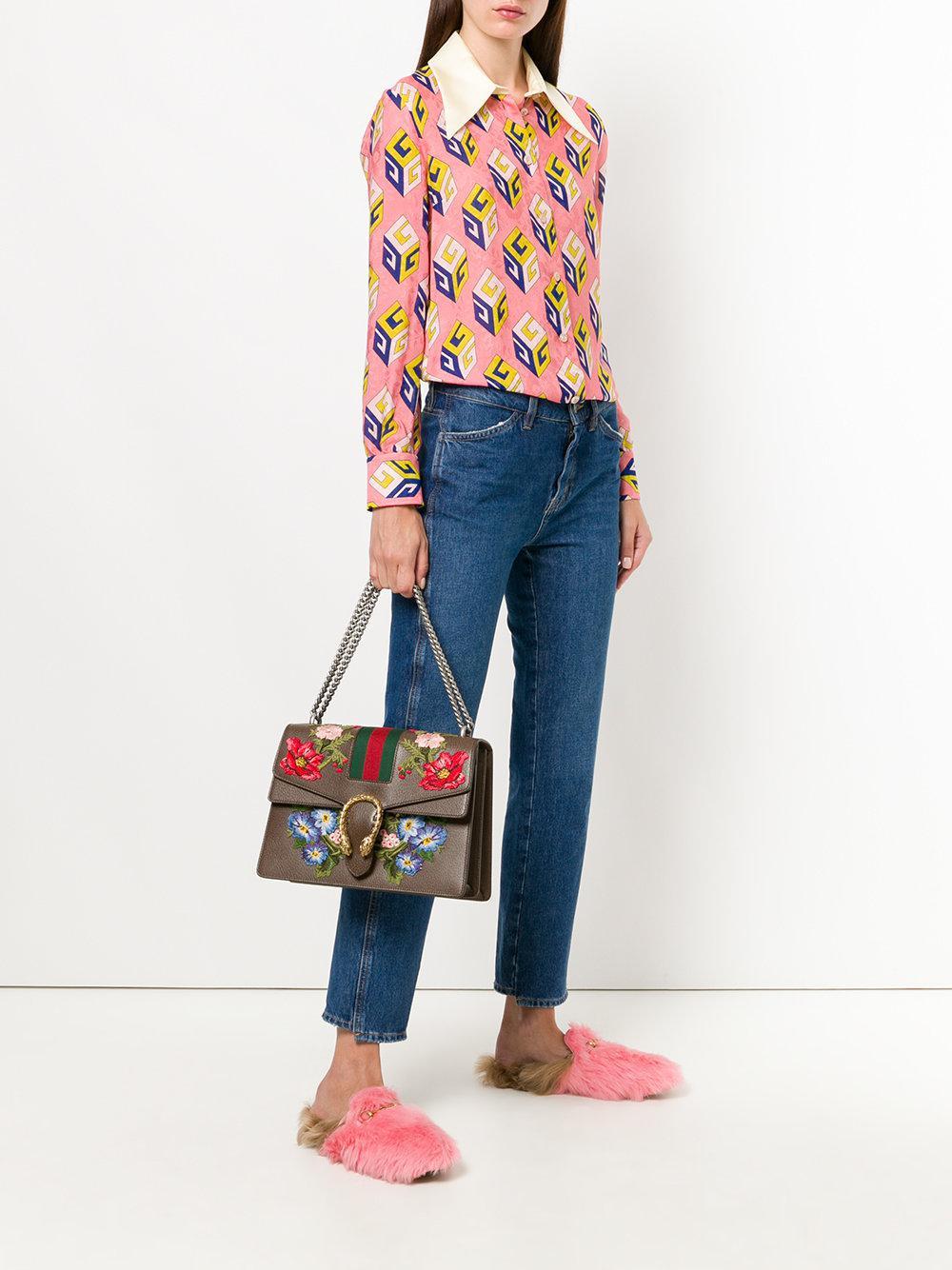 eba917aa251 Gucci - Brown Dionysus Embroidered Shoulder Bag - Lyst. View fullscreen