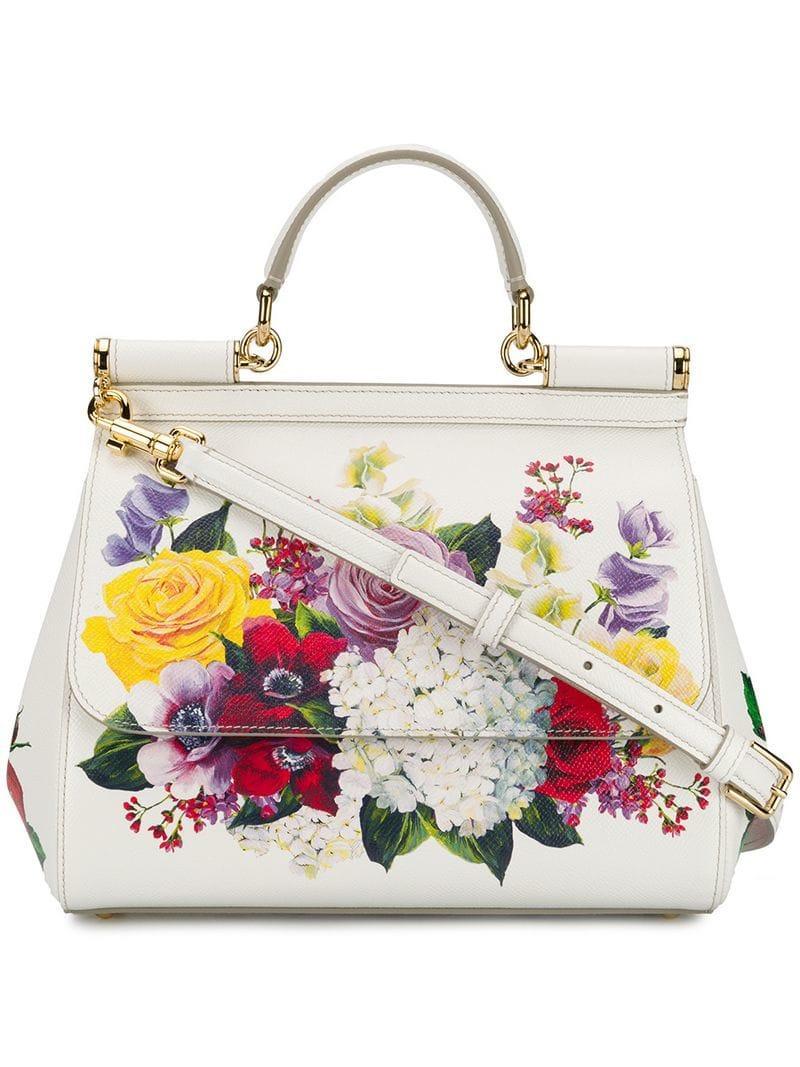 Lyst - Dolce   Gabbana Floral Print Sicily Bag in White - Save 15% ef8b9504c1