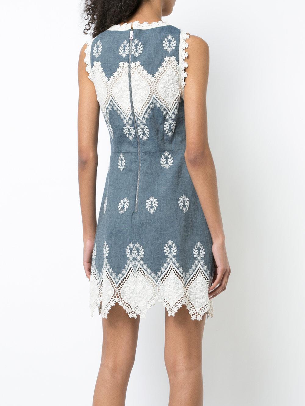 Affordable Cheap Online Discount Geniue Stockist embroidered details dress - Blue Alice & Olivia x4VGTCBI