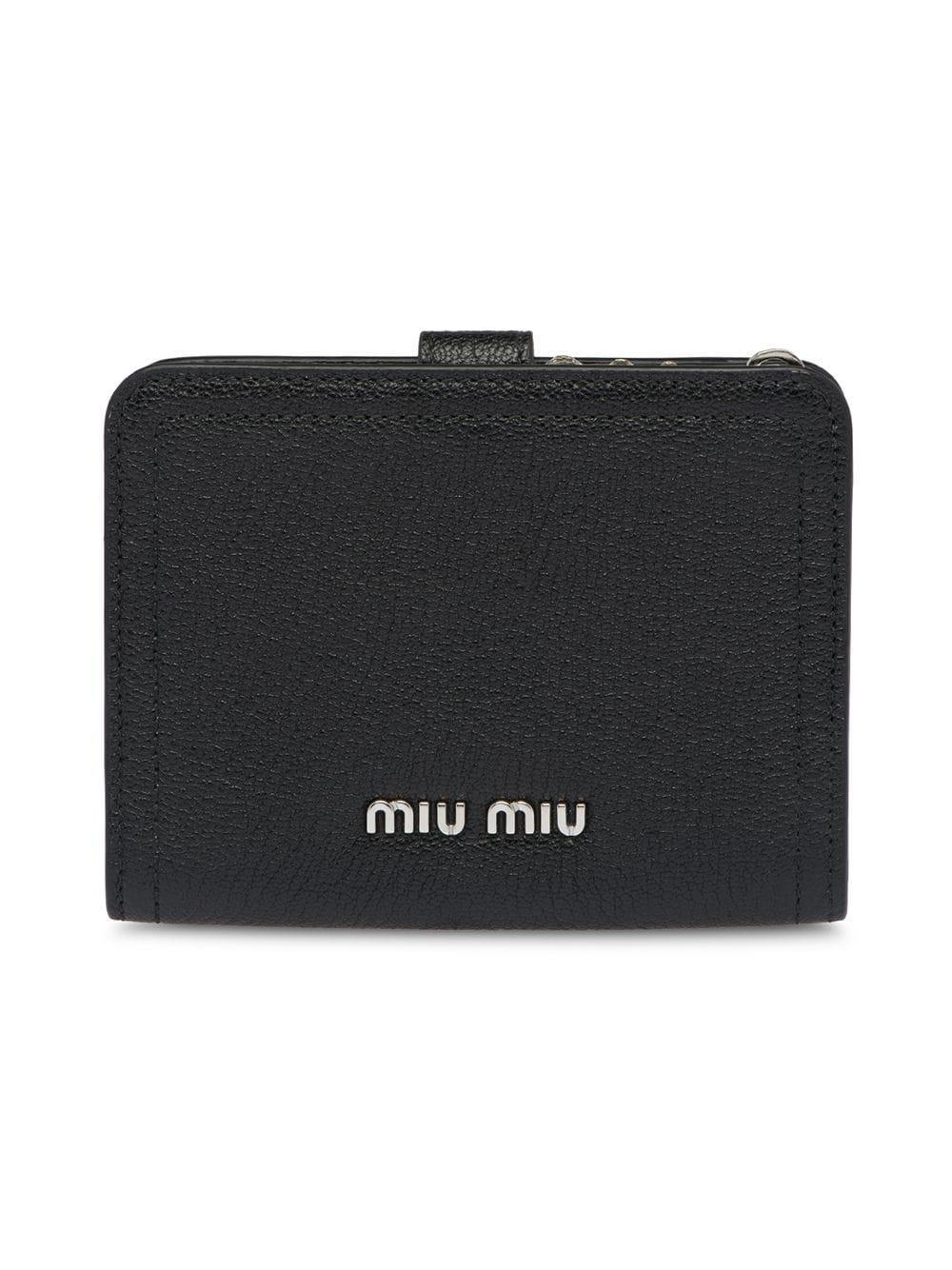 27eee65c74 Lyst - Miu Miu Madras Leather Wallet in Black