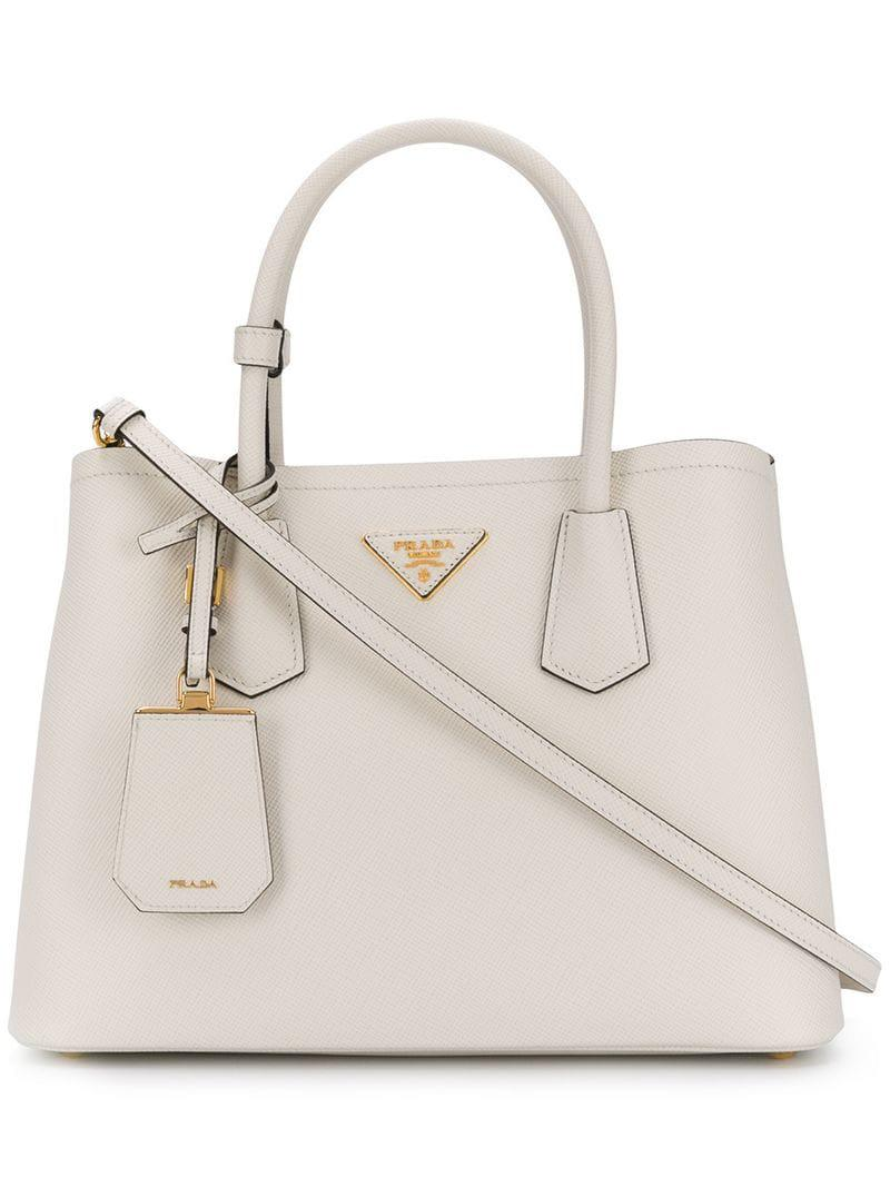 a7d7af742a17 Lyst - Prada Small Double Bag in White