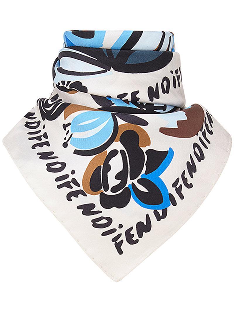 floral foulard square scarf - Multicolour Fendi JmE07m