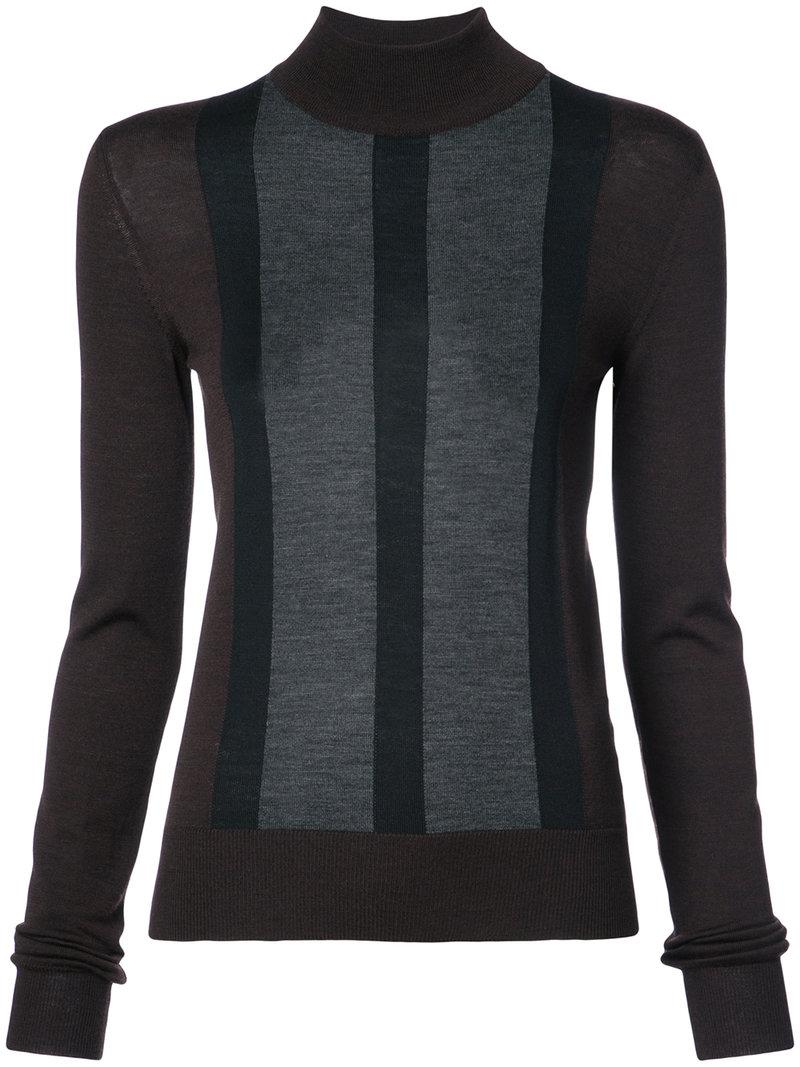striped detail slim-fit jumper - Brown Vera Wang Cheapest Online FAd7yBVN