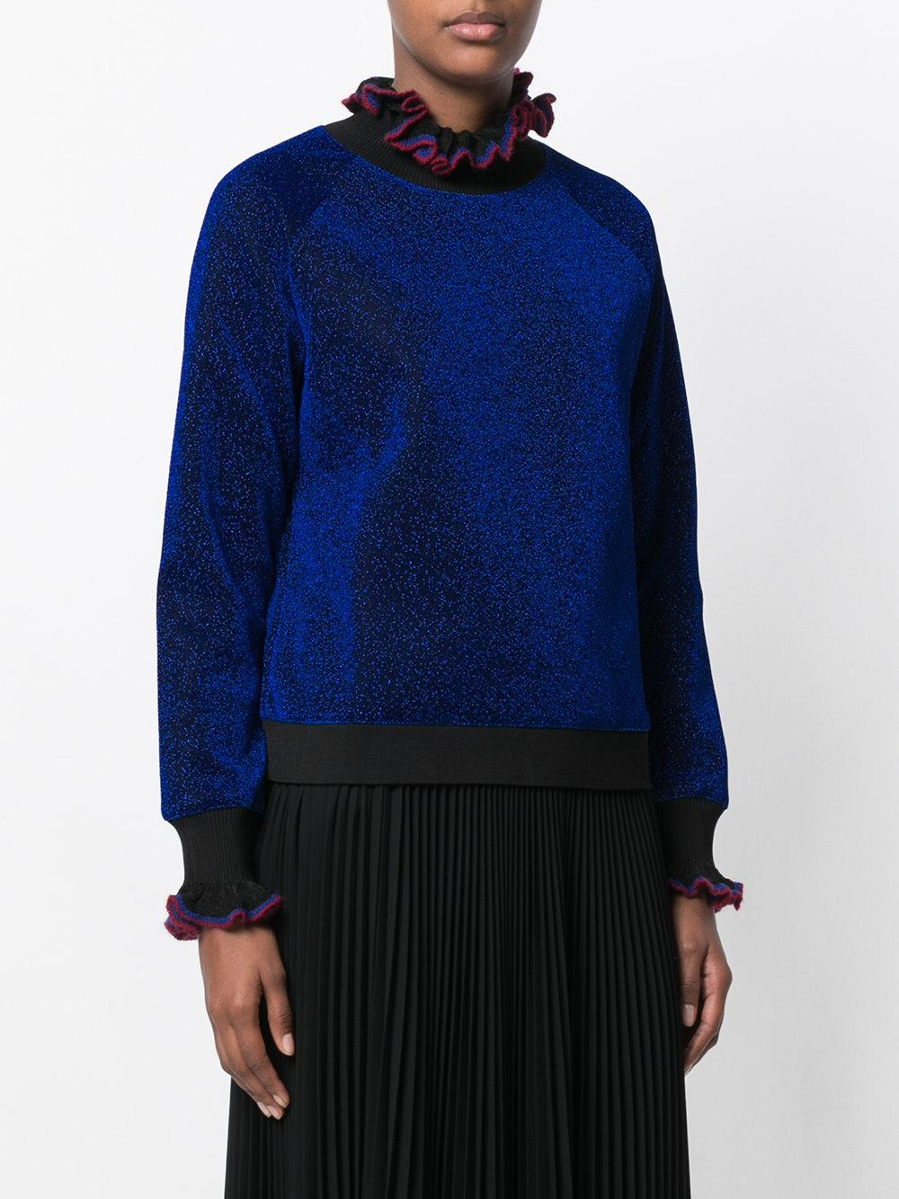 Essentiel antwerp Glitter Ruffle Jumper in Blue | Lyst