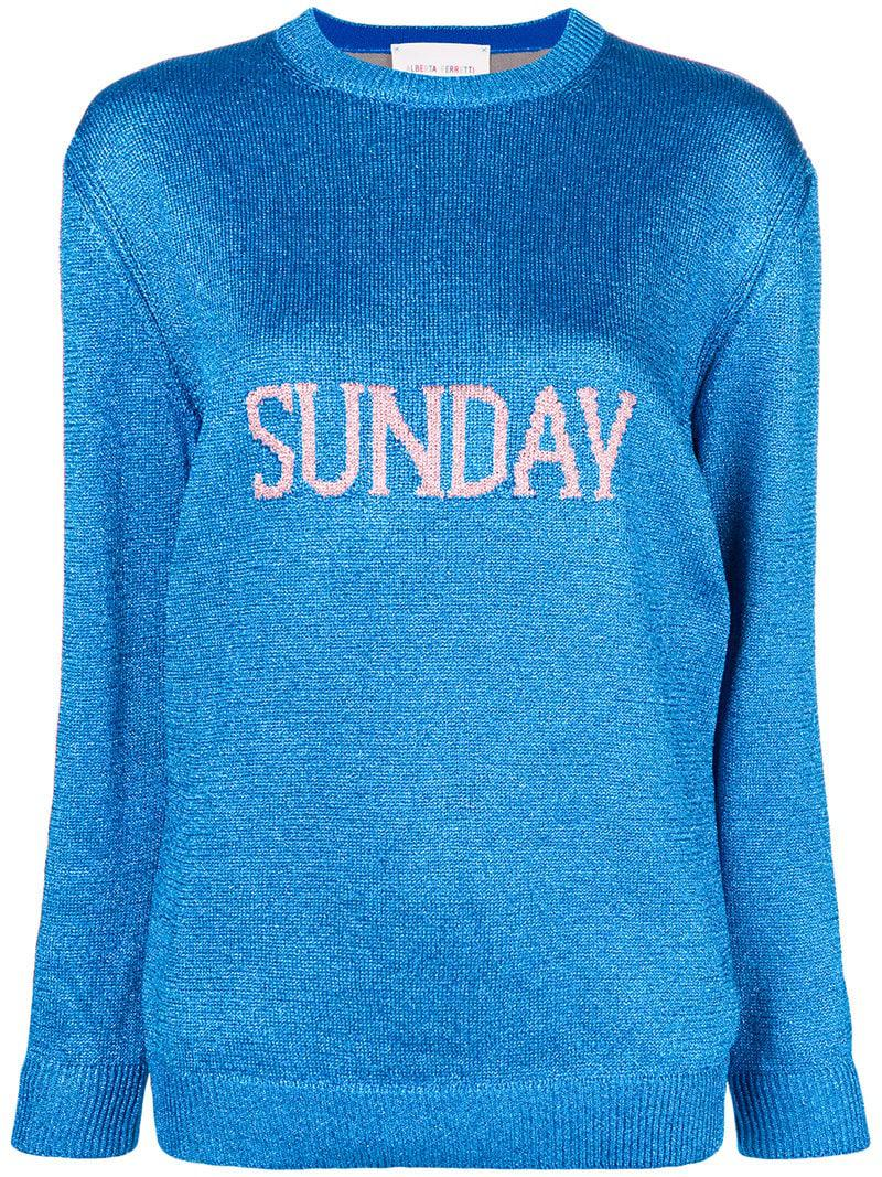 Lyst - Jersey de punto de intarsia Sunday Alberta Ferretti de color Azul 52b3772743a6
