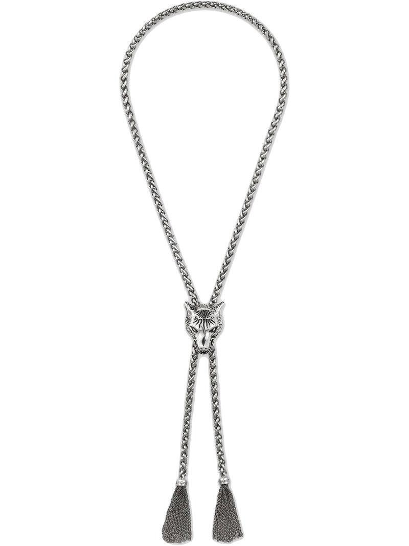 82c207309 Gucci Anger Forest Wolf Head Necklace In Silver in Metallic for Men ...