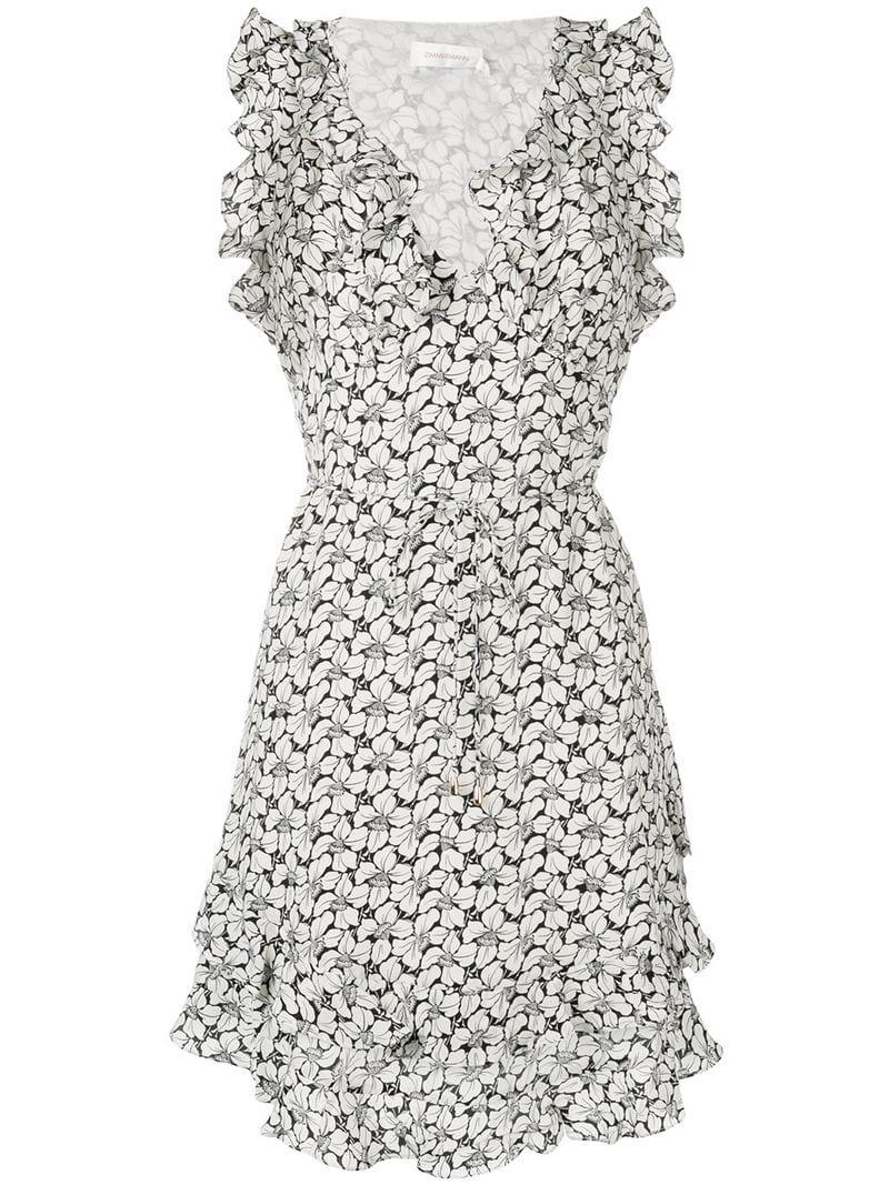 cc7452d6f6 Zimmermann Floral Ruffle Mini Dress in White - Lyst