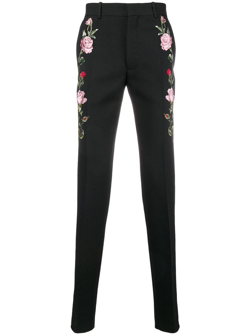 1c0d7adfc3 Lyst - Alexander McQueen Floral Embroidered Tailored Trousers in ...