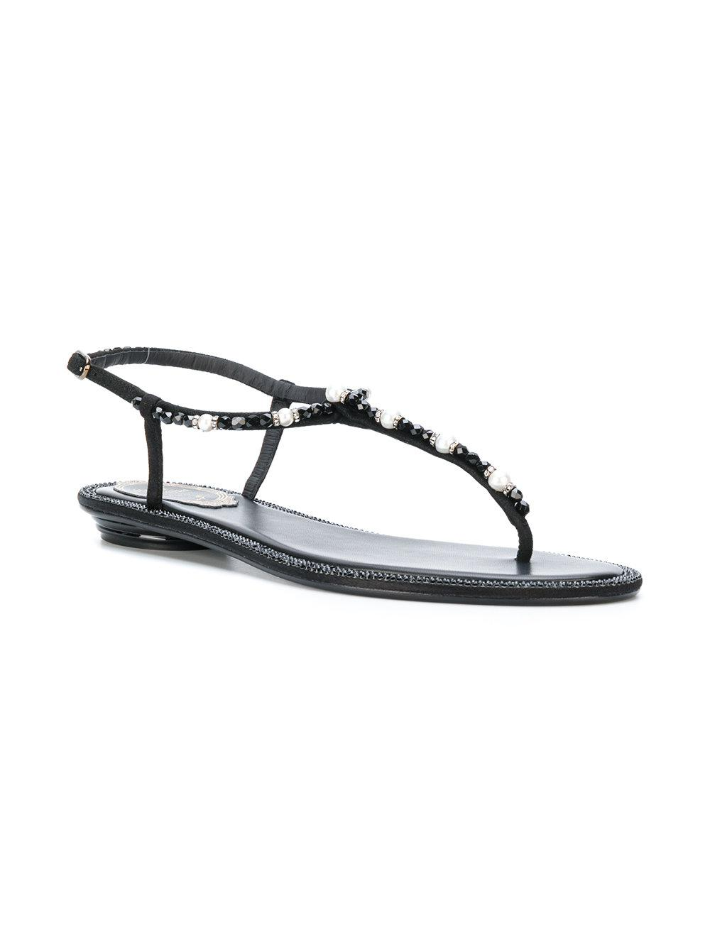 63a372c1edb Lyst - Rene Caovilla Beaded T-strap Flat Sandals in Black