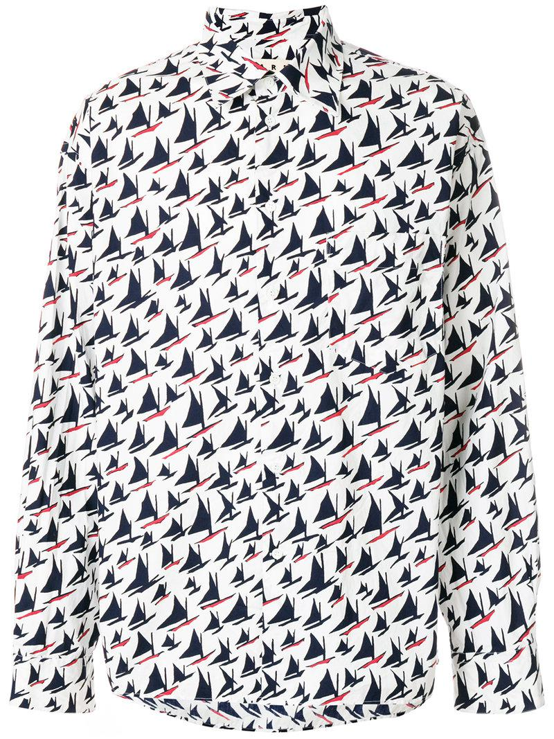b60db58674e56 Lyst - Marni Sail Boat Print Shirt in White for Men