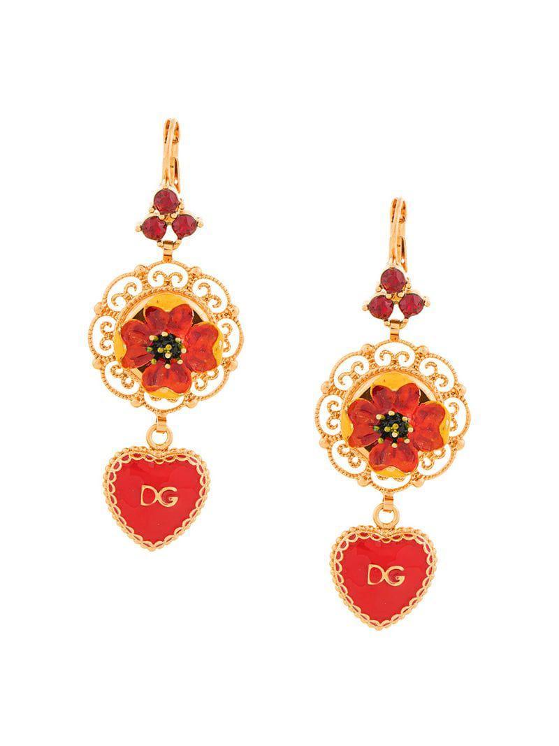 d85df486263e Pendientes colgantes con apliques Dolce   Gabbana - Lyst