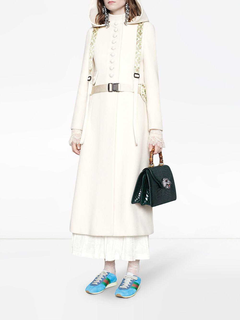 804d77b38 Gucci Wool Coat With Hood in White - Lyst