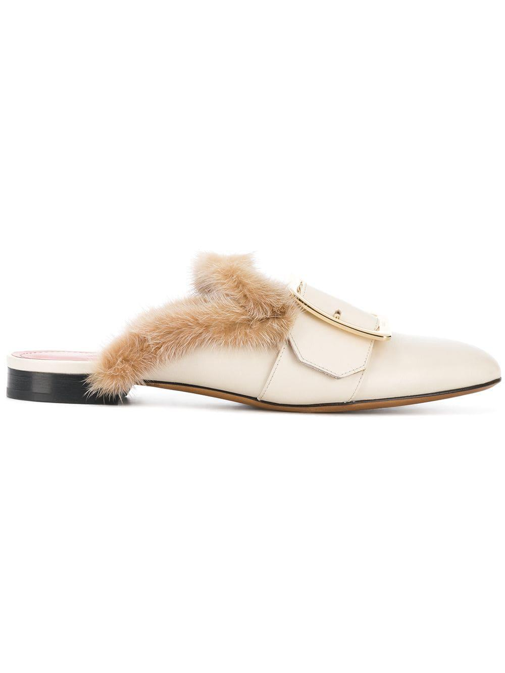 e88e2bf505dd7 Lyst - Bally Janesse Fur Trimmed Slippers in Natural