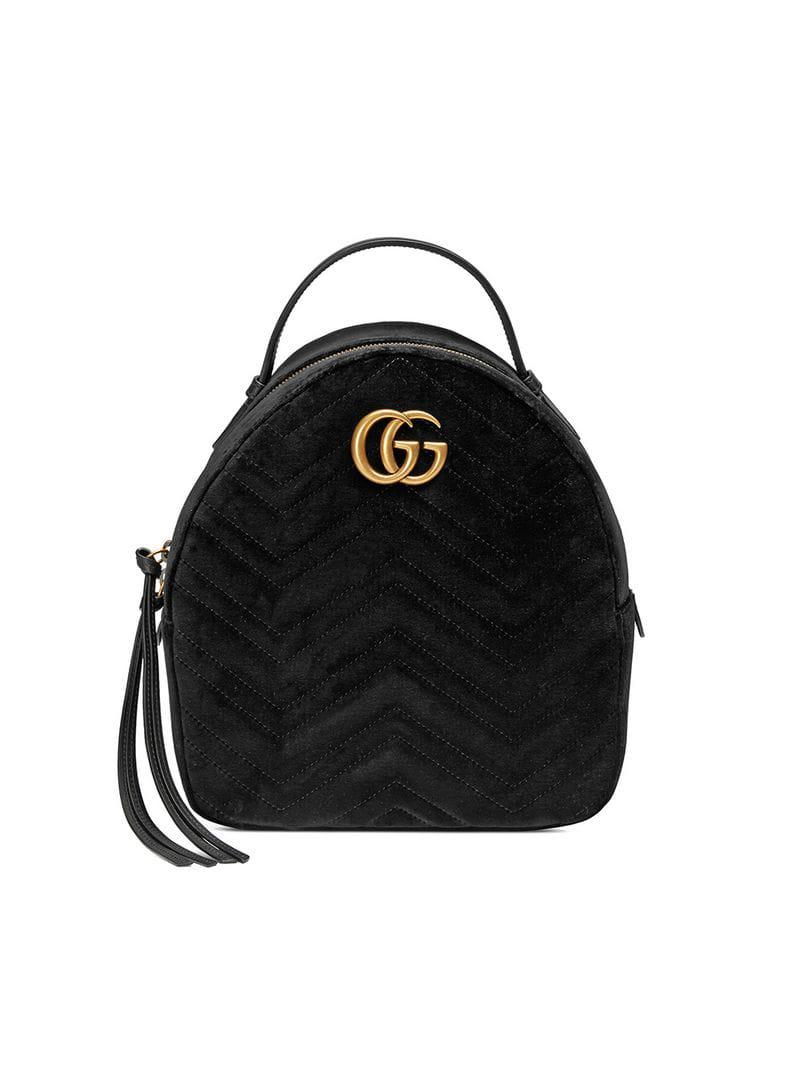 Lyst - Gucci GG Marmont Velvet Backpack in Black a40650cd2b20f