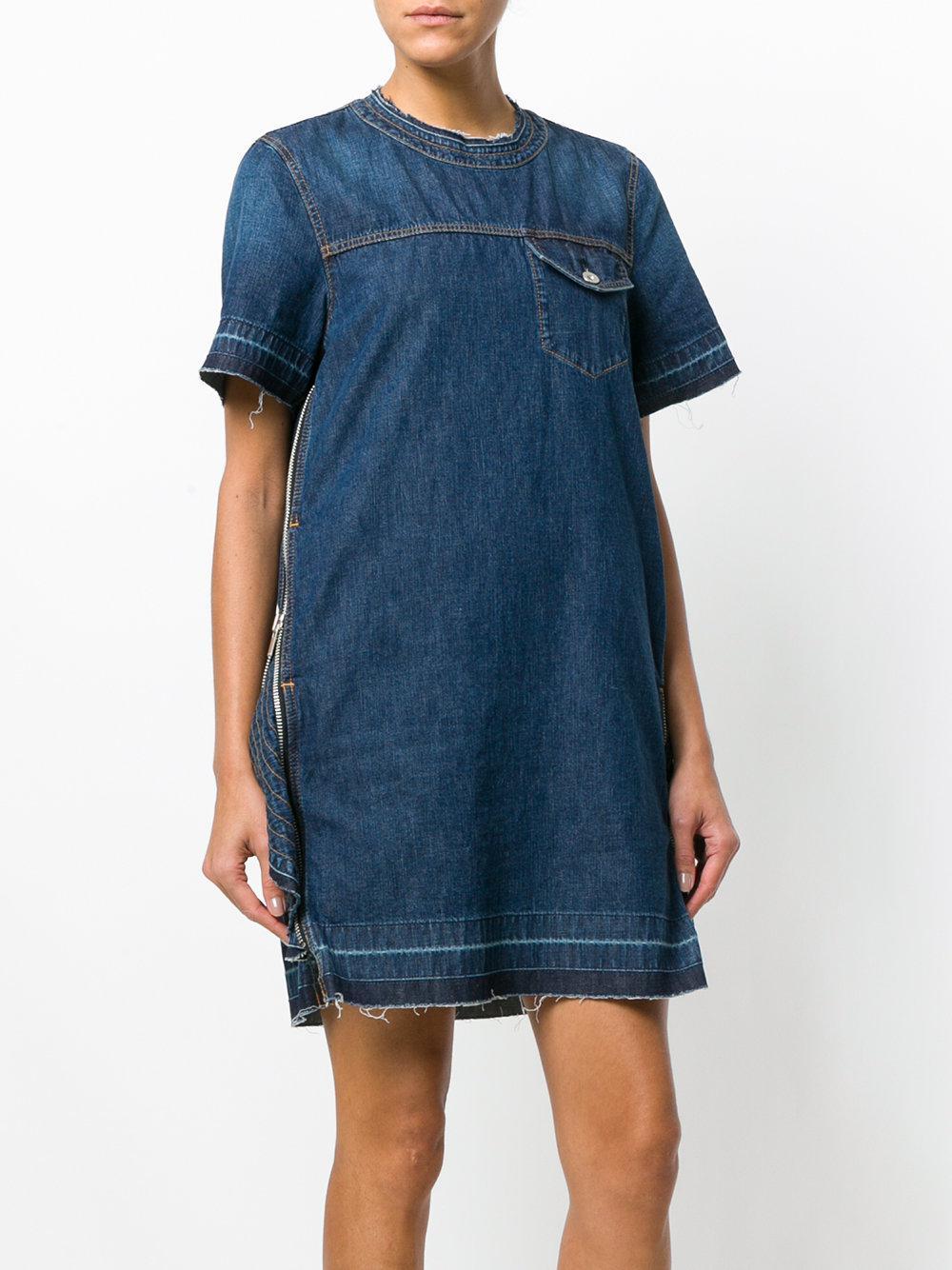 8bcf2e8d92 Sacai - Blue Denim Zip Embellished Dress - Lyst. View fullscreen