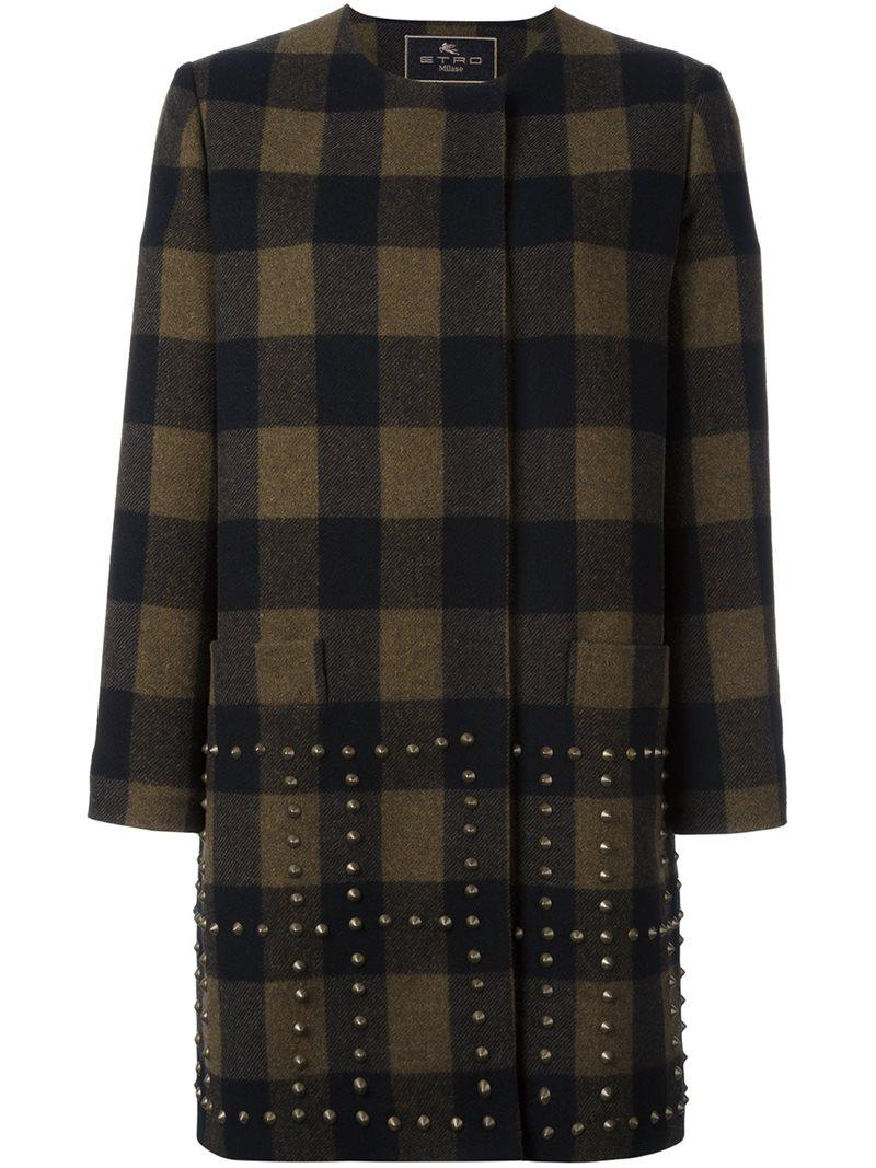studded checked coat - Black Etro For Cheap Sale Online Cheap Sale New Styles lq7ddFWn9m