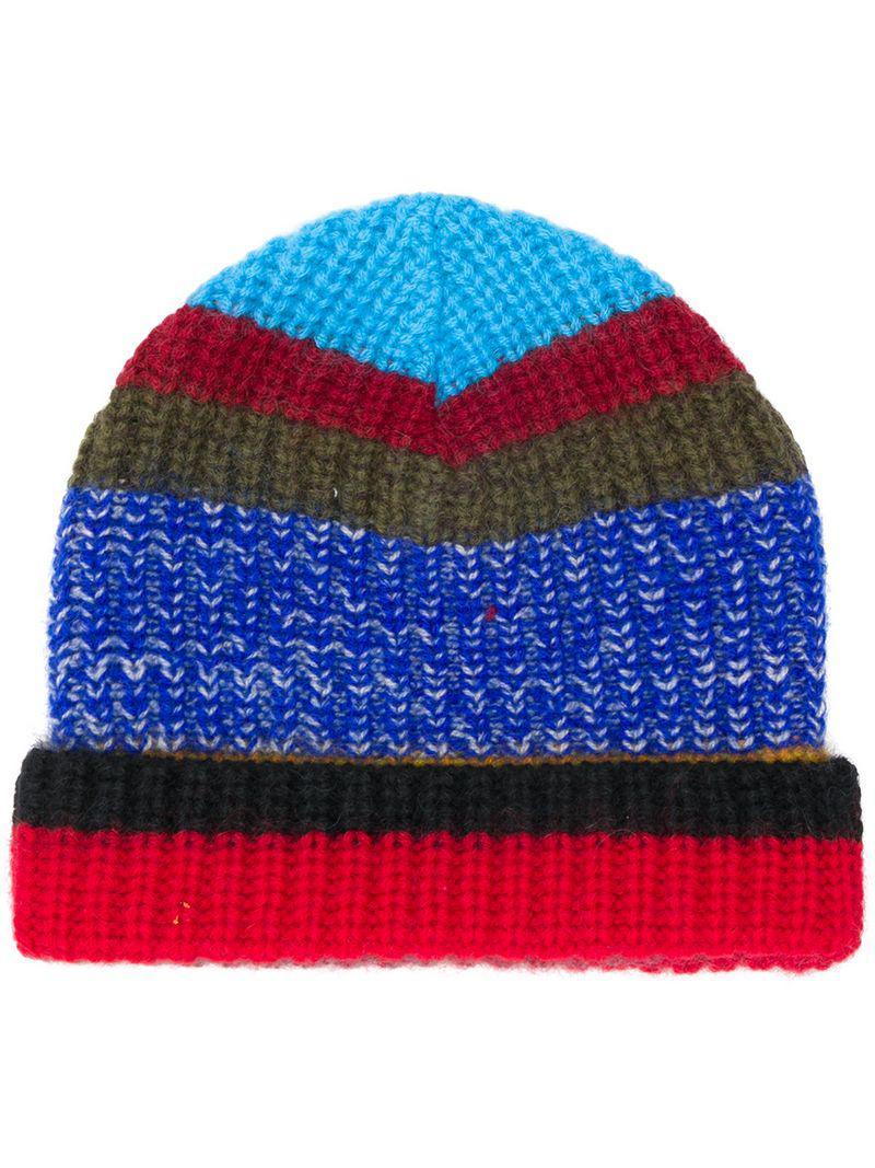 Missoni Striped Knit Beanie in Blue for Men - Lyst 4cda3d2ab5e5