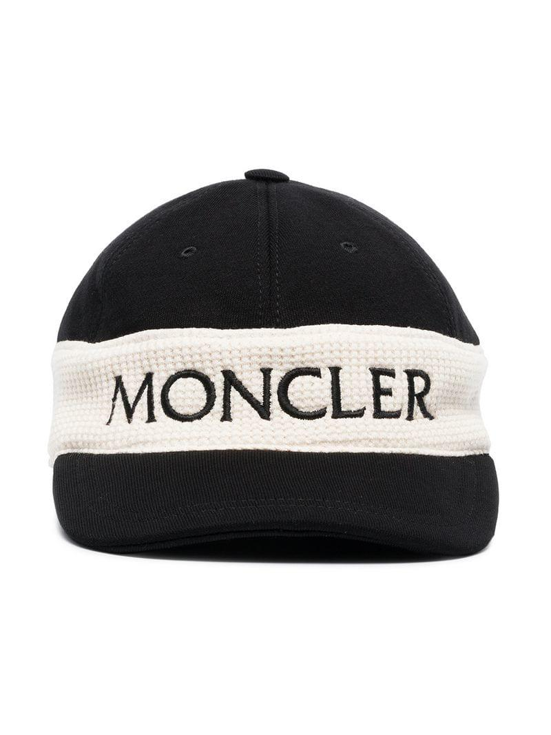 b4198d1d3423 Moncler Black And White Logo Cap in Black for Men - Lyst