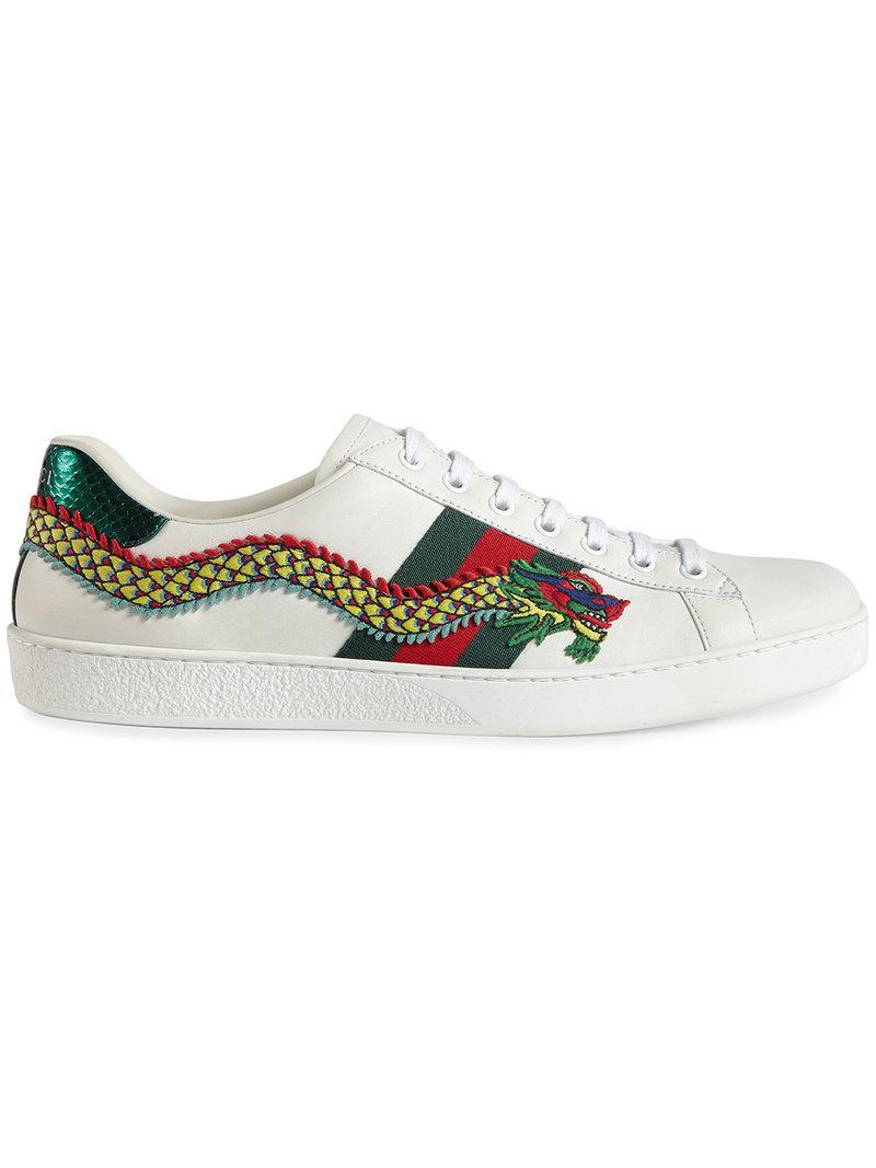 0950451650d Lyst - Gucci Sneaker Bassa Ace Ricamata in White for Men